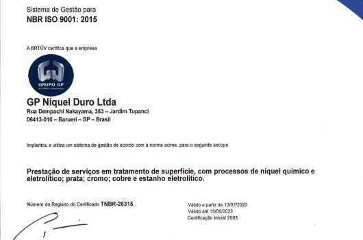 GP Níquel Duro - NBR ISO 9001:2015 - Português