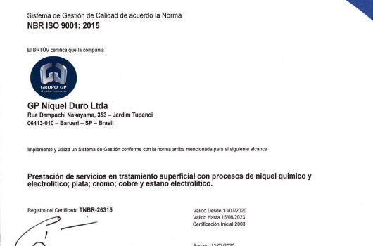 GP Níquel Duro - NBR ISO 9001:2015 - Espanhol