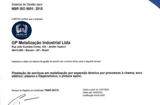 GP Metalização Industrial - NBR ISO 9001:2015 - Português