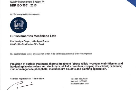 GP Isolamentos Mecânicos - NBR ISO 9001:2015 - Inglês
