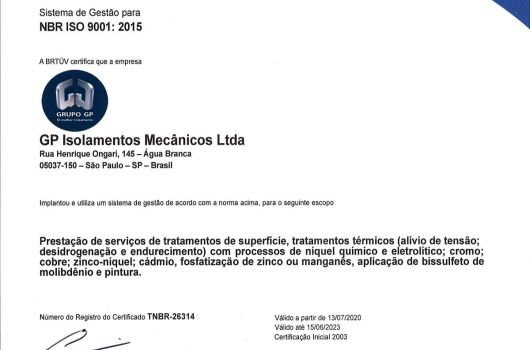 GP Isolamentos Mecânicos - NBR ISO 9001:2015 - Português