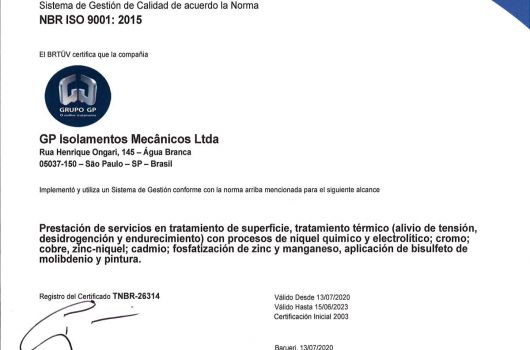 GP Isolamentos Mecânicos - NBR ISO 9001:2015 - Espanhol