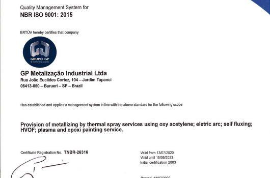 GP Metalização Industrial - NBR ISO 9001:2015 - Inglês